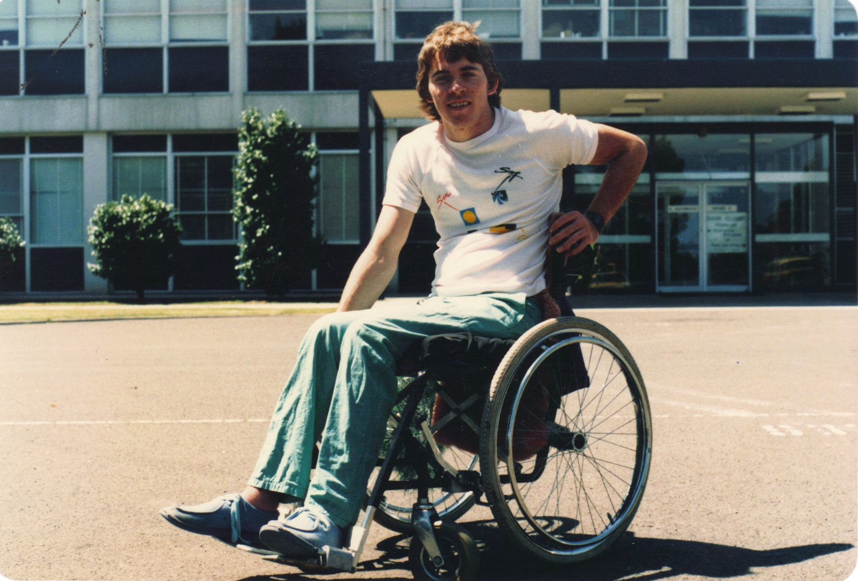 James in Wheelchair outside hospital
